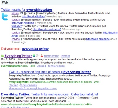 EverythingTwitter search results on Google